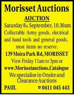 AUCTION Saturday 8th September, 10.30am