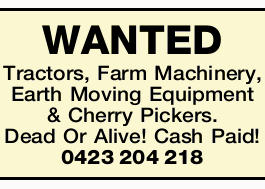 Tractors, Farm Machinery, Earth Moving Equipment & Cherry Pickers. Dead Or Alive!