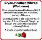 Bryce, Heather Mildred  (Welbourn)