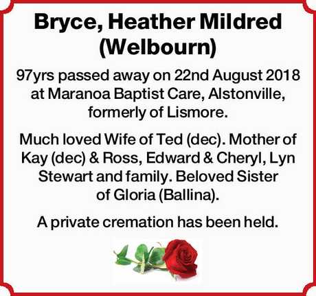 <p> 97yrs passed away on 22nd August 2018 at Maranoa Baptist Care, Alstonville, formerly of...