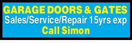 GARAGE DOORS & GATES   Sales/Service/Repair   15yrs exp   Call Simon