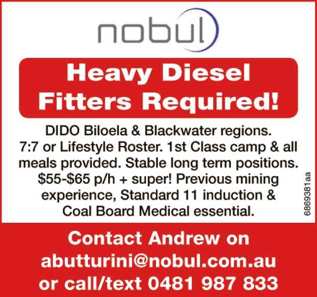 Heavy Diesel Fitters Required!   DIDO Biloela & Blackwater regions.   7:7 or Lifestyl...