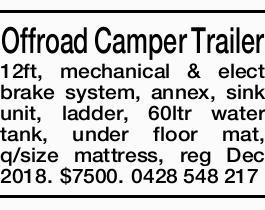 <p> Offroad Camper Trailer 12ft, mechanical & elect brake system, annex, sink unit, ladder, 60ltr...