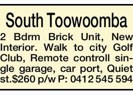 South Toowoomba 2 Bdrm Brick Unit, New Interior.   Walk to city Golf Club, Remote controll si...