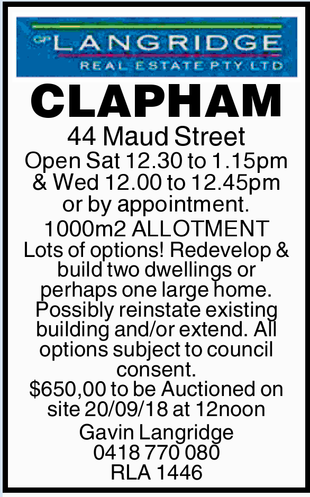 CLAPHAM 44 Maud Street Open Sat 12.30 to 1.15pm & Wed 12.00 to 12.45pm or by appointment. 100...