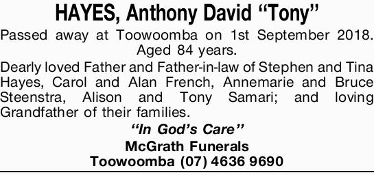 HAYES, Anthony David ''Tony''