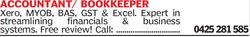 Xero, MYOB, BAS, GST & Excel. Expert in streamlining financials & business systems....
