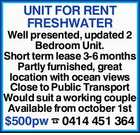 UNIT FOR RENT - FRESHWATER