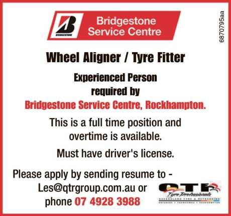 <p> WHEEL ALIGNER / TYRE FITTER </p> <p> required by Bridgestone Service Centre...</p>