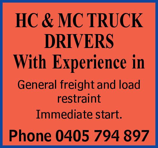 HC & MC TRUCK DRIVERS