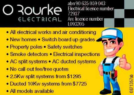 "<p align=""LEFT"" dir=""LTR""> <span lang=""EN-AU"">• All electrical works and air...</span></p>"