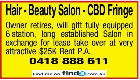 Hair - Beauty Salon - CBD Fringe Owner retires, will gift fully equipped 6station, long establish...