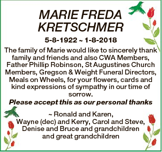 MARIE FREDA KRETSCHMER 5-8-1922  1-8-2018 The family of Marie would like to sincerely thank family and...