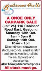 A ONCE ONLY CARPARK SALE