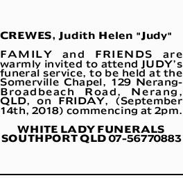 "CREWES, Judith Helen ""Judy""