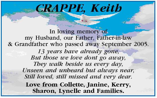 Crappe Keith Condolences Notices Cairns Post