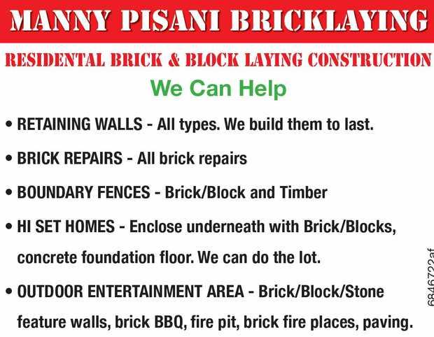 MANNY PISANI BRICKLAYING   RESIDENTAL BRICK & BLOCK LAYING CONSTRUCTION   • Bric...