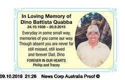 In Loving Memory of   Dino Battista Quabba   24.10.1938 – 20.9.2015   Everyday...