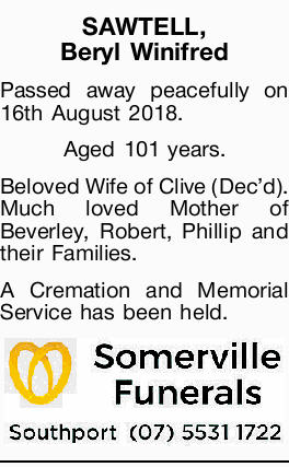 SAWTELL, Beryl Winifred