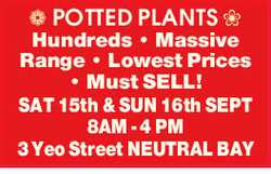 Hundreds Massive Range Lowest Prices   Must SELL! SAT 15th & SUN 16th SEPT   8AM - 4...
