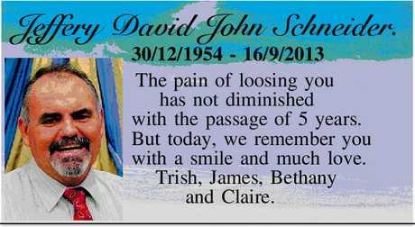 <p> Jeffery David John Schneider. </p> <p> 30/12/1954 - 16/9/2013. </p> <p> The pain of...</p>