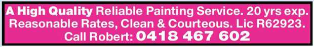 A High Quality Reliable Painting Service. 20 yrs exp. Reasonable Rates, Clean & Courteous. Li...
