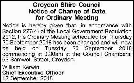 """<p align=""""center""""> <strong>Croydon Shire Council</strong> </p>"""
