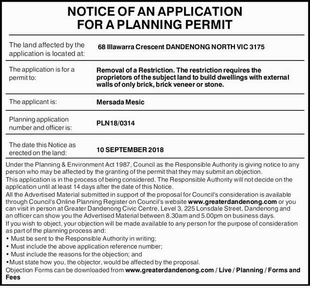 NOTICE OF AN APPLICATION FOR A PLANNING PERMIT