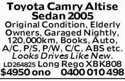 Toyota Camry Altise Sedan 2005   Original Condition, Elderly Owners, Garaged Nightly,   1...