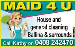House and general cleaning Ballina & surrounds Call Kathy on 0408 6847899aa MAID 4 U 242470
