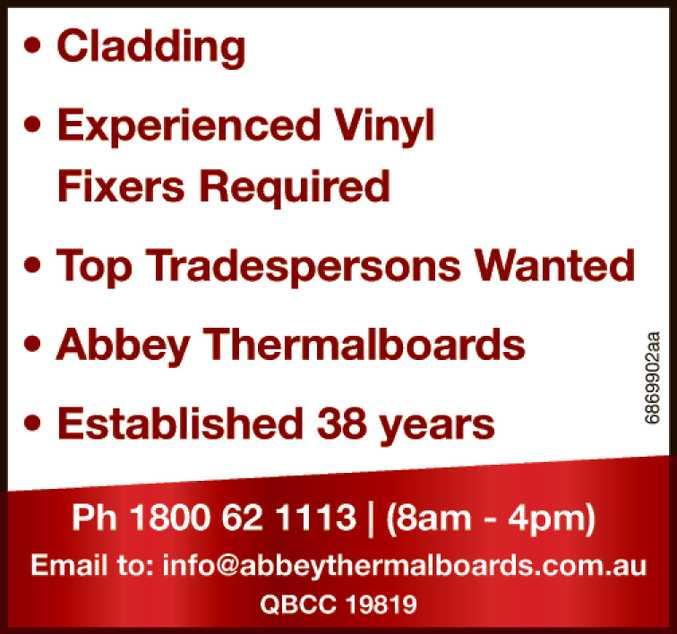 Cladding  Vinyl Fixers Required