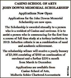 CASINO SCHOOL OF ARTS JOHN DOWNS MEMORIAL SCHOLARSHIP Applications Now Open Applications for the Joh...