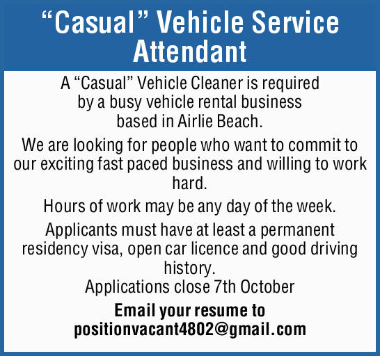 """Casual"" Vehicle Service Attendant 