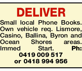 <p> <strong>DELIVER Small local Phone Books.</strong> </p> <p>