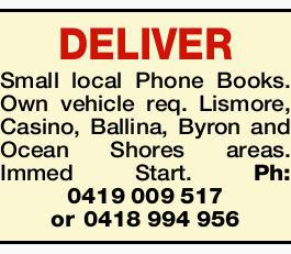 DELIVER Small local Phone Books.