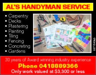 """<p align=""""LEFT"""" dir=""""LTR""""> <span lang=""""EN-AU"""">Al's Handyman Service</span> </p>"""