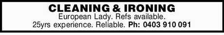 <p> European Lady. </p> <p> Refs available. </p> <p> 25yrs...</p>