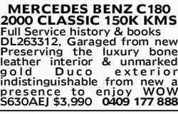 2000 CLASSIC 150K KMS Full Service history & books DL263312, Garaged from new Preservin...