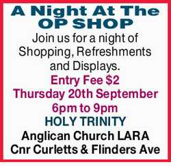 Join us for a night of Shopping, Refreshments and Displays.   Entry Fee $2   Thursday 20t...