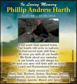 In L Loving ving Mem Memoryy Phillip Andrew Harth Four years have passed today, Our hearts still ach...