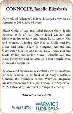 "CONNOLLY, Janelle Elizabeth Formerly of ""Glencoe"", Eidsvold, passed away on 1st September..."