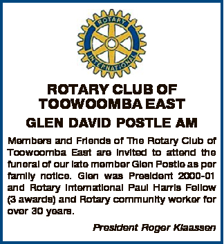 Members and Friends of The Rotary Club of Toowoomba East are invited to attend the funeral...