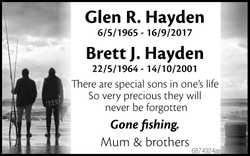 Glen R. Hayden   6/5/1965 - 16/9/2017   Brett J. Hayden   22/5/1964 - 14/10/2001  ...