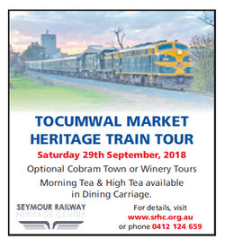 Tocumwal Market Heritage Train Tour   Saturday 29th September 2018   Optional Cobram town...