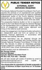 PUBLIC TENDER NOTICE EXTERNAL AUDIT SERVICES REQUIRED