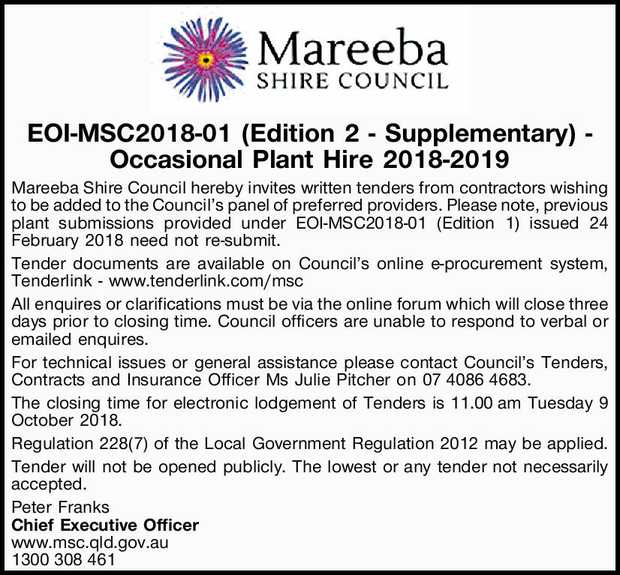 EOI-MSC2018-01 (Edition 2 - Supplementary) - Occasional Plant Hire 2018-2019
