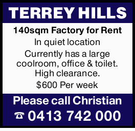 $600 Per Week 140sqm factory In quiet location Currently has a large coolroom, office &...