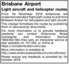 Brisbane Airport Light aircraft and helicopter routes