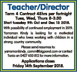 Teacher/Director Term 4 Contract 45hrs per fortnight Tues, Wed, Thurs 8-3:30 Start tuesday 9th Oct e...