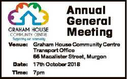 Annual General Meeting Venue: Graham House Community Centre Transport Office 66 Macalister Street, M...